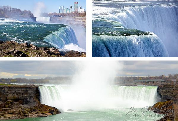 Three views of Niagra Falls.