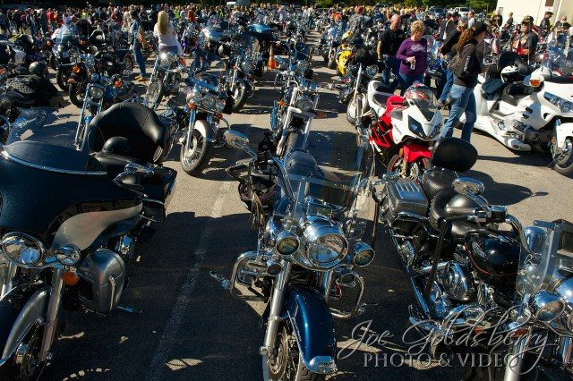 A sea of motorcylces wait at the Whitman VFW to begin the 5th annual Run for the Roses.