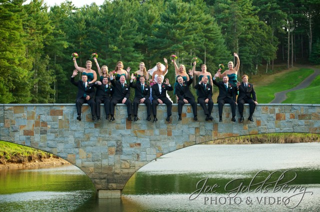 "Indian Pond Country Club has the best ""built in"" props for formal photos. The bridge makes a perfect setting for sitting!"