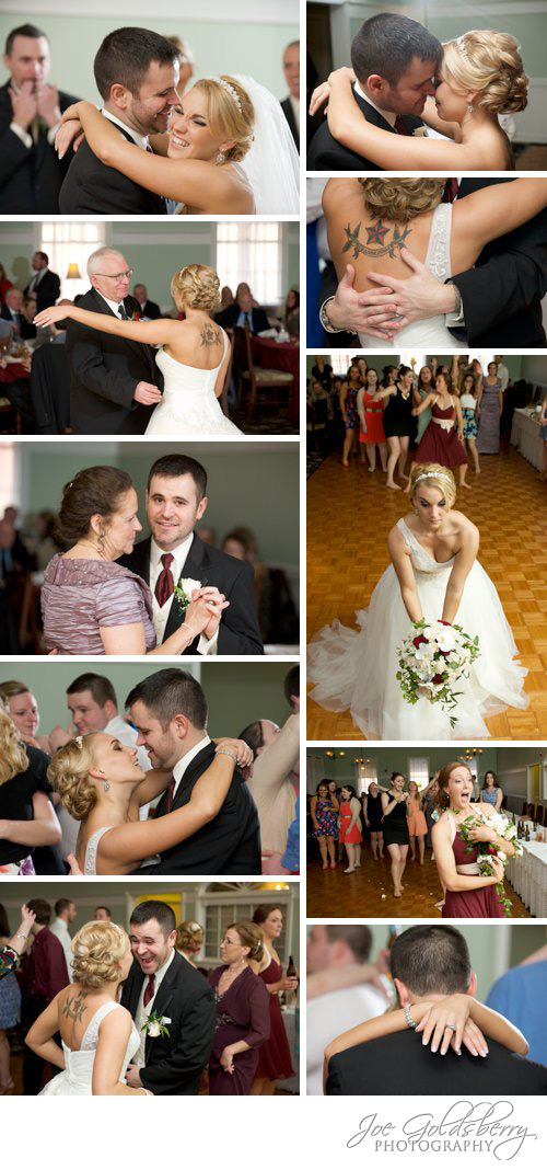 First dance, parent dance, and a flower toss with a happy bridesmaid.